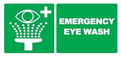 Competent 2 X Emergency Eye Wash - Info Sign Self Adhesive Waterproof Vinyl Stickers