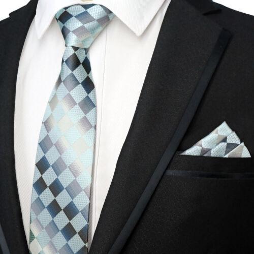 Bleu clair à motif écossais Classique Homme Cravate Mouchoir Set Homme Soie liens fête de mariage