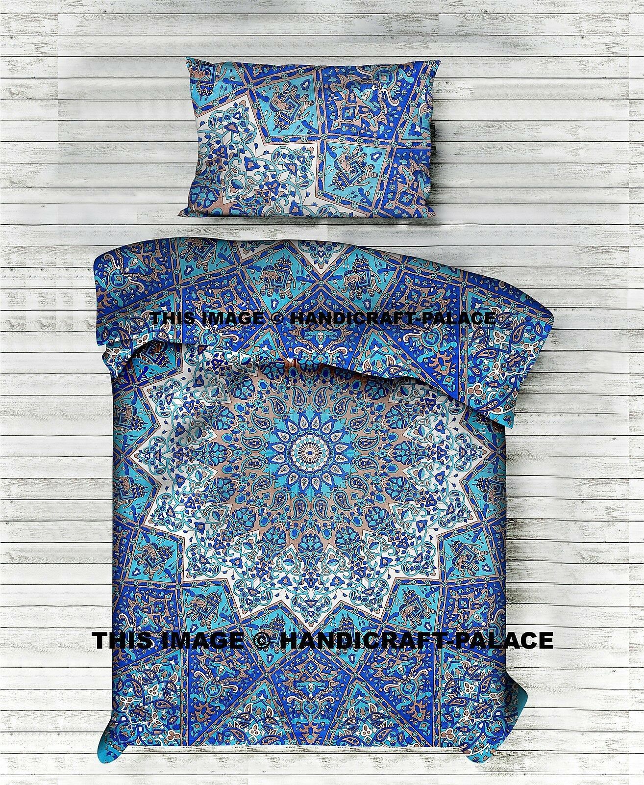 Indian Psychedelic Star Mandala Printed Quilt Duvet Cover Blanket Set Twin Size