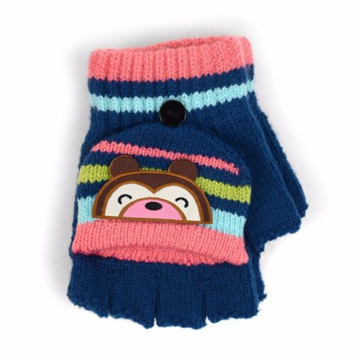 580KFG Children's Striped Cuddly Bear Convertible Mitten Gloves for Winter