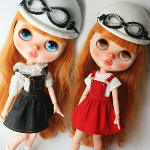 1//6 Scale Party Ball Dress Skrit Stockings Fits for Blythe Azone Licca Doll Red