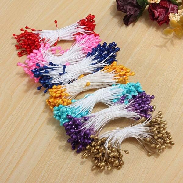 Artificial Flower Stamen Double Heads Pearlized DIY Craft Card Cake Decor Floral