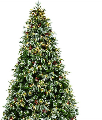 reputable site cc40d 8f09b P57 6.5 ft Pre Lit Frosted Christmas Tree Warm White LED Lights Berries &  Cones | eBay
