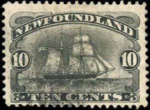 Used-Canada-Newfoundland-1894-10c-F-Scott-59-Schooner-Stamp