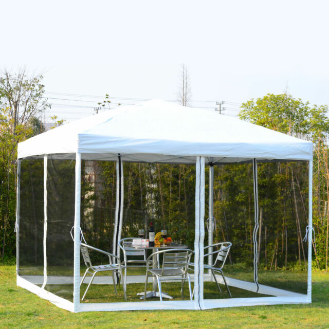 10x10 EZ Pop Up Party Wedding Tent Patio Gazebo Canopy Outdoor Mesh White  W/Bag