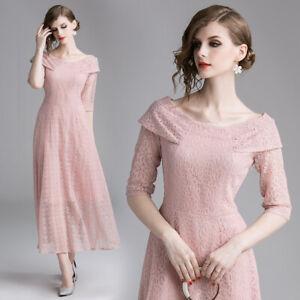 super popular d847d edc90 Dettagli su Elegante vestito donna abito scampanato rosa cipria pizzo  maniche morbido 4004