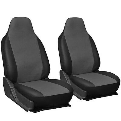 Faux Leather SUV Van Truck Seat Cover Grey Black 2pc w/Integrated Head Rests