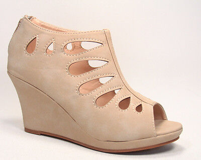 Women's Cute Caged Peep Toe Low High Platform Wedge Sandal Shoes Size 5 - 10 NEW