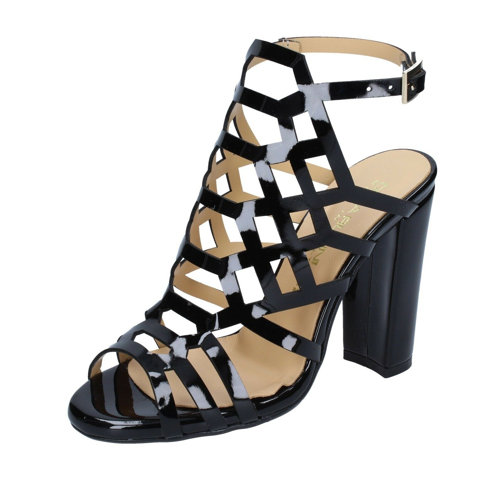 Para mujeres Zapatos Olga Olga Olga Rubini 3 (EU 36) Sandalias De Charol Negro BS162-36  mejor precio