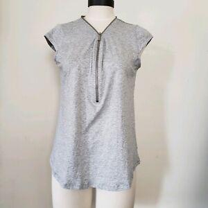 Michael-Kors-Women-039-s-Shirt-Short-Sleeve-Gray-Half-Zip-Top-Medium-New-Casual