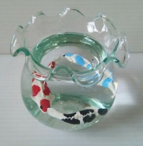 Clay-Fancy-Carp-Fish-Miniature-in-Clear-Jelly-Wax-Glass-Jar-Art-Handmade-Gift