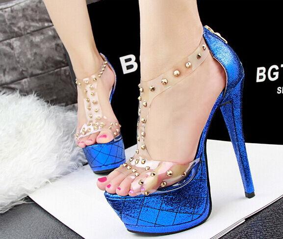 Último gran descuento Sandalias de mujer Con Plataforma azul electrico talón 14,5 cm 5 8575