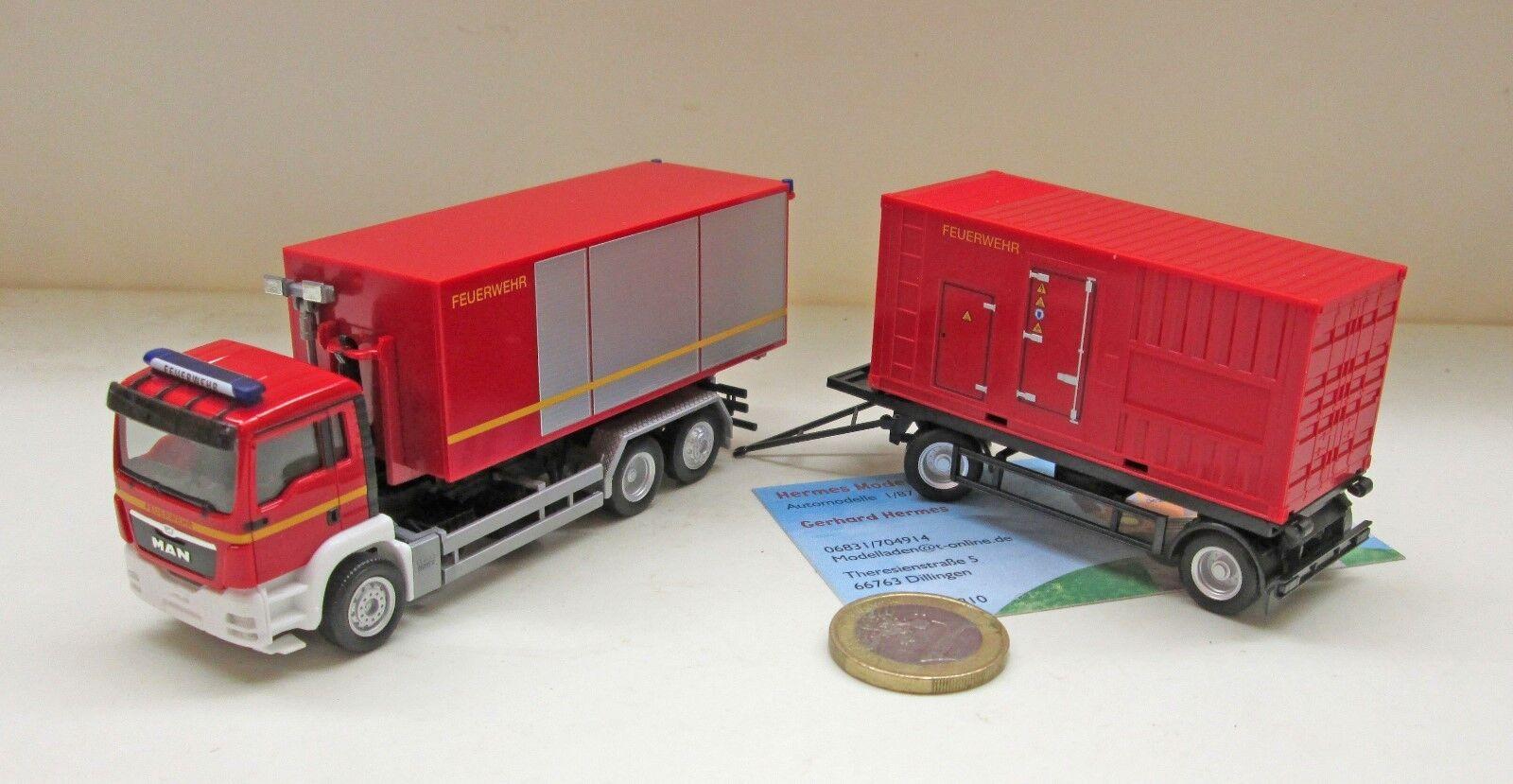 Herpa 307536 MAN TGS M Euro Euro Euro 5 Hakenlift-Hängerzug en électricité Agrégat et contain 43ae0a