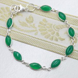 Jade-Armband-Silber-925-Chalcedon-Gruen-Sterlingsilber-Tennisarmband-Armkette