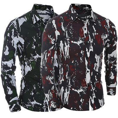 New Men's Luxury Camo Long Sleeve Casual Slim Fit Camouflage Shirt Top T-shirt