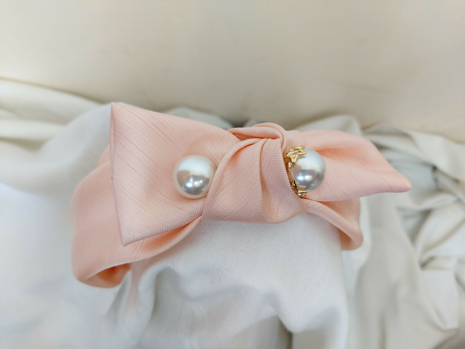 Silky Peach Bow with pearl Alice band