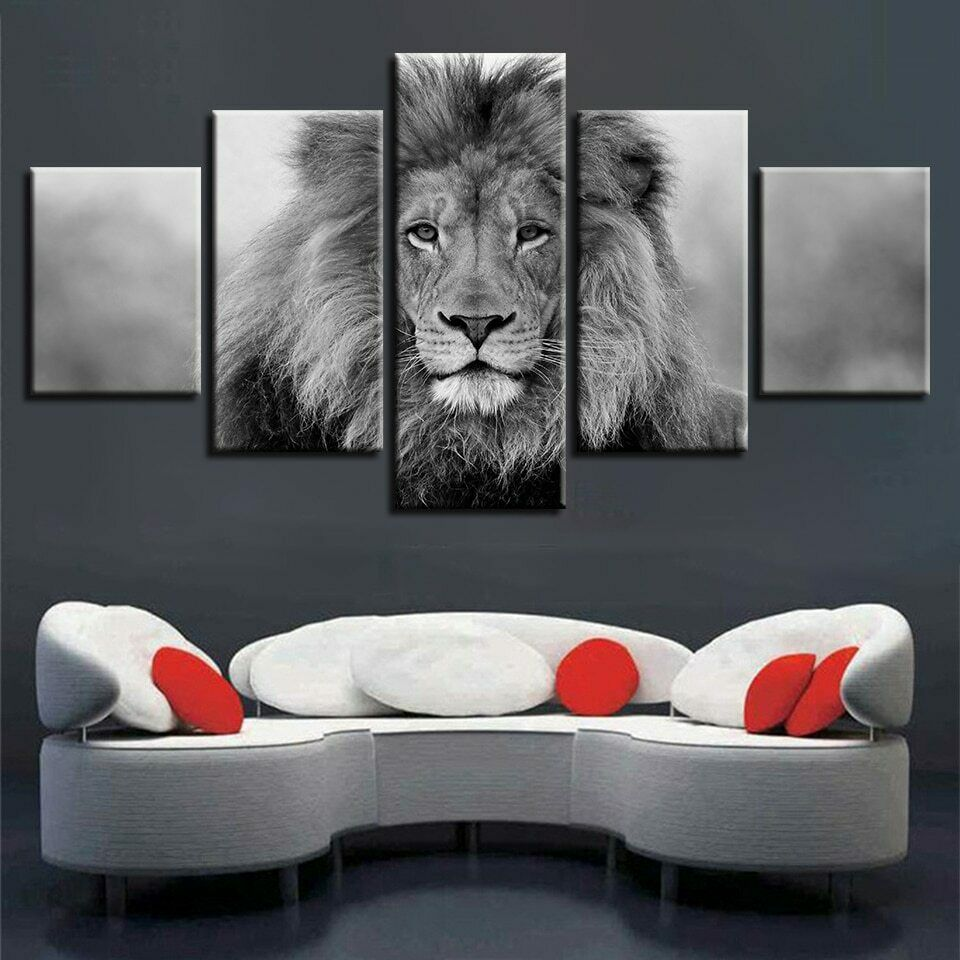Monochrome Male Lion Visage 5 pieces toile mur Home Decor Poster Artwork