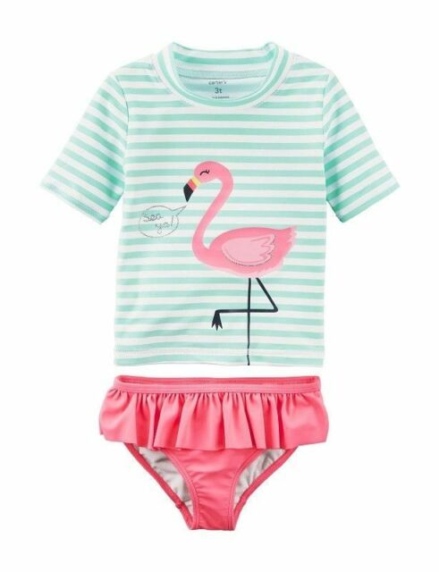 72b312ebc3f82 Frequently bought together. CARTER'S BABY GIRLS PINK FLAMINGO RASH GUARD 2  PIECE SWIMSUIT SET ...