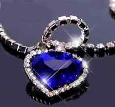 "Titanic Heart Of The Ocean Pendant Necklace Large Blue Stone On 20"" Diamanté New"