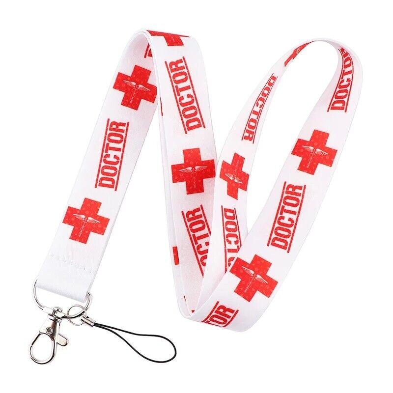 Doctor medic alerta médica rojo símbolo ID Holder Lanyard medicación Correa Para El Cuello