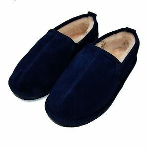 Boot Sheepskin Deluxe Mens Hard Free Returns Slipper Sole Navy Afn6Zqnx