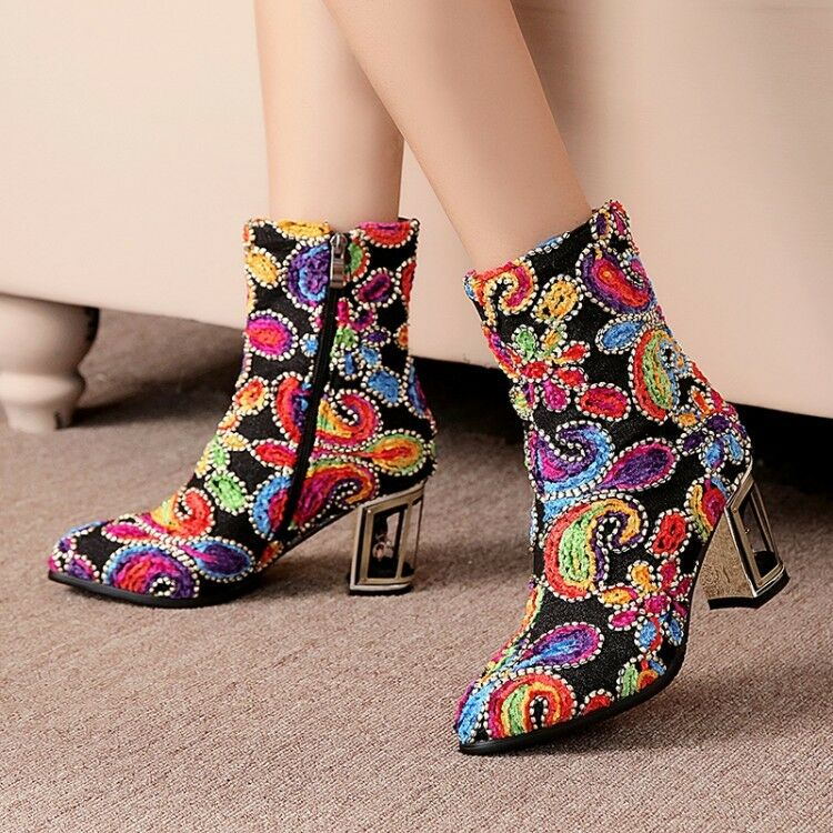 Women Ladies Vogue Embassed Pointed Toe Hollow Block Heel Ankle Boots shoes Y134