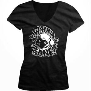 Wanna-Bone-Pug-Face-Paw-Prints-Sexual-Funny-Sayings-Juniors-V-neck-T-shirt