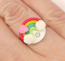 """Over The Rainbow"" Kawaii Kitsch Clay Adjustable Cute Costume Ring - UK SELLER!"