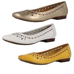 newest collection 5e7b6 71154 Detalles de Mujer Clarks Henderson Caliente Cuero Casual Zapatillas  Balerinas Estilo Zapatos