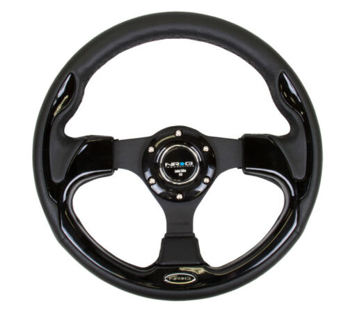 Blk w// Gloss Black Trim RST-001BK 320mm NRG Reinforced Steering Wheel