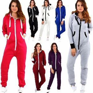 Ladies-Adult-Plain-Zip-Hooded-1Onesie-Womens-All-In-One-Fleece-Jumpsuit-Playsuit