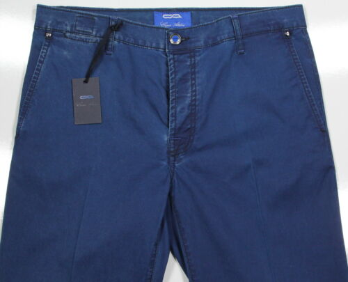 NWT New CESARE ATTOLINI Dark Blue Flat Front Modern Cotton Chino Pants 33x32