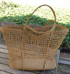 Extra Large Vintage Straw Woven Wicker Garden Basket Tote Shopper Bag Italy
