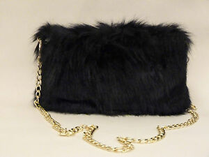 New-womens-black-white-and-navy-faux-fur-gold-effect-chain-small-shoulder-bag