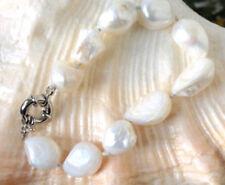 """10-12mm white freshwater baroque pearl bracelet 7.5"""" LL008"""