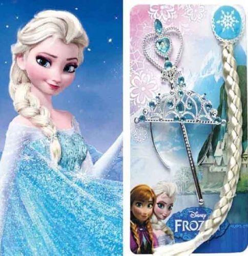 Frozen Queen Elsa Anna Princess Crown/&Hair Piece/&Wand Gloves Set Girls Kids US