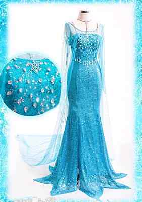 Frozen Elsa Adult Dress Fancy Dress Costume Party Blue Snow Queen with TIARA