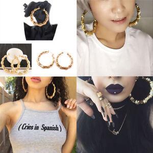 Large-Bamboo-Earrings-Hip-Hop-Gold-Silver-Ladies-Hoop-Hoop-Bling-Circles-YJ