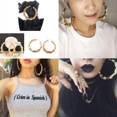 Grand Bambou Boucles d/'oreilles fashion hip-hop Or//Argent Femmes HOOP//Hoop BLINGS Cercle