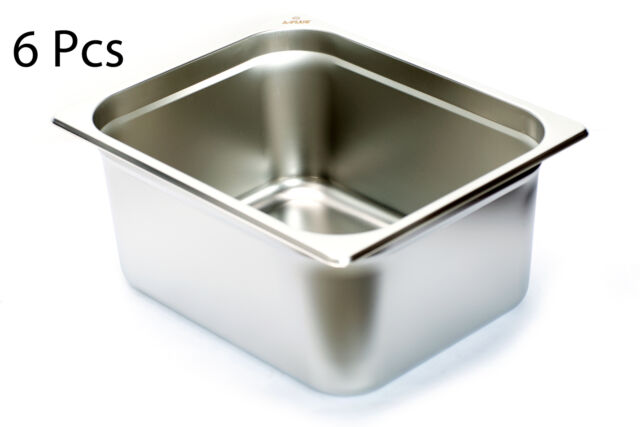 1//2 Size 6 inch Anti-Jam 25 Gauge Steam Table Pan NSF Stainless Steel