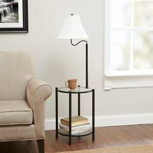 Details About End Table Lamp Combination 2 Rack Floor Decor Side Home Furniture Matte Black