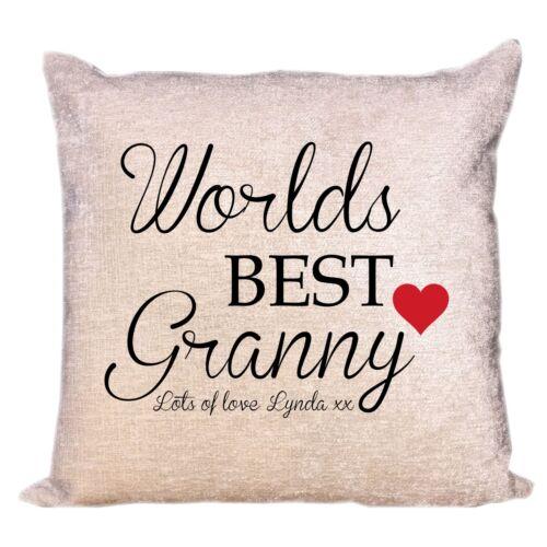 Worlds Best Granny Luxe Personnalisé Chenille Housse De Coussin Cadeau D/'Anniversaire