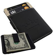 New Mens Black Money Clip Custom Card Cash Holder Slim Wallet Steel Faux Leather