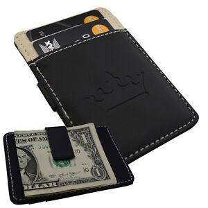 Mens-Black-Cream-Money-Clip-Card-Cash-Holder-Slim-Wallet-Steel-Faux-Leather-901v