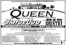 Queen Concert Poster Knebworth Park 1986