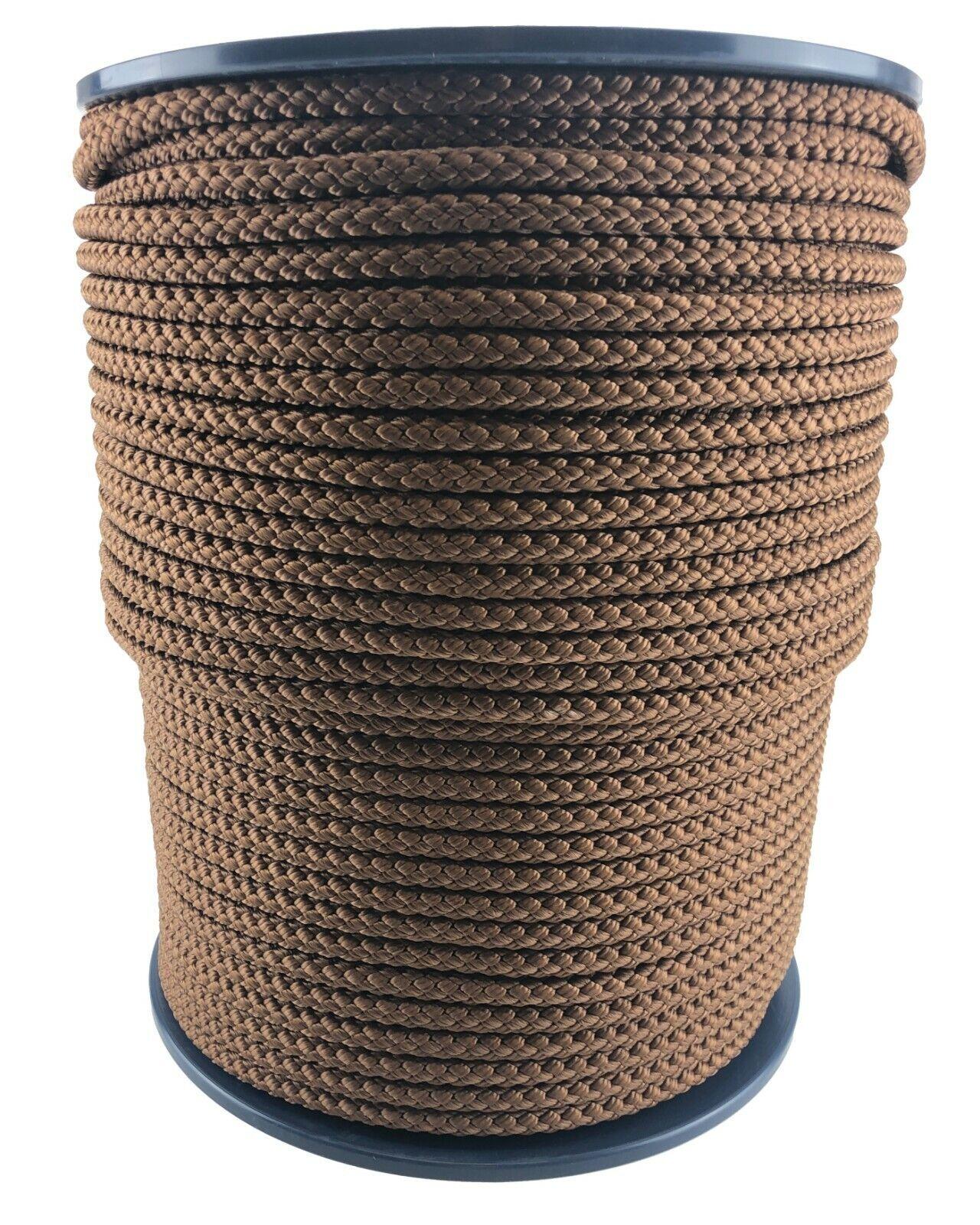 12mm Brown Braided Polypropylene Rope x 50 Metres, Paracord Drawstring Camping