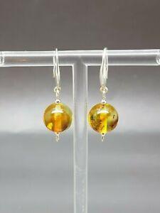 Genuine 100/% natural Baltic amber earrings 925 sterling silver beautyful drop shape