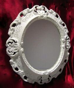 GOLD-WEISS 45x38 Oval Badspiegel 103045 Wandspiegel Spiegel BAROCK Antik