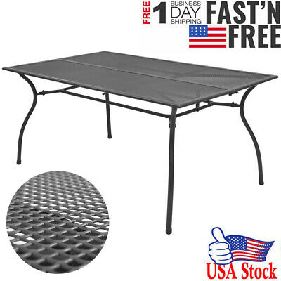 Outdoor Dining Table Steel Mesh Patio Garden Bistro Desk 59 X35 4 X28 3 Usa