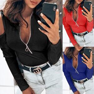 Women-Sexy-Slim-Zipper-V-Neck-Open-Shoulder-Sweater-Long-Sleeve-Knit-Top-T-shirt